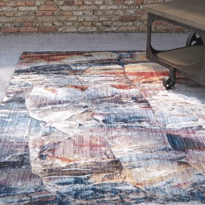 Foresta Abstract Blue/Red Area Rug Rug Size: Square 7