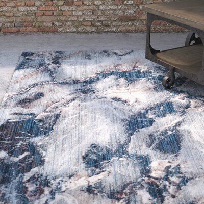Foresta Blue/Ivory Area Rug Rug Size: Rectangle 5'1