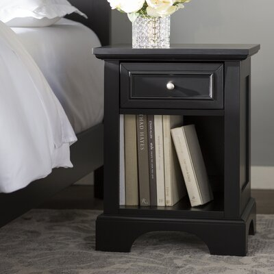 Cusick 1 Drawer Nightstand Color: Ebony