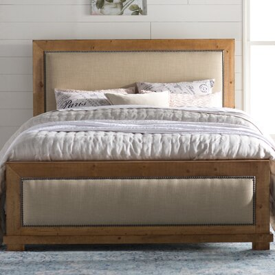 Castagnier Upholstered Panel Bed Color: Distressed Pine, Size: Queen