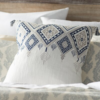 Eleta Cotton Throw Pillow Color: Ivory/Blue