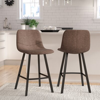 Almeida 25.5 Bar Stool Upholstery: Brown