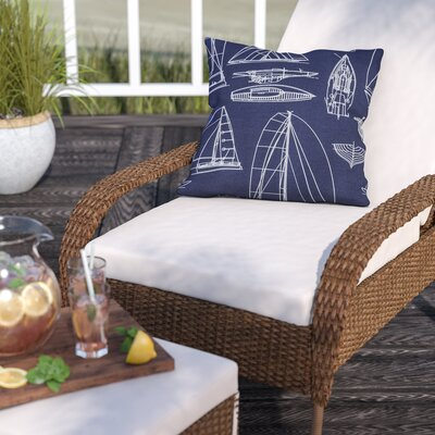 Theresa Regatta Outdoor Throw Pillow Size: 16 H x 16 W x 6 D, Color: Blue