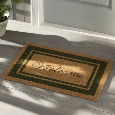 Worth Border Welcome Doormat Rug Size: Rectangle 2 x 3, Color: Sage Green