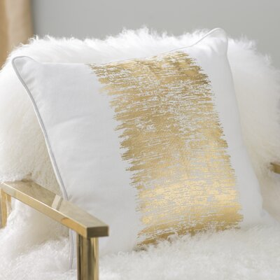 Garlan Metallic Banded Cotton Throw Pillow Color: Gold