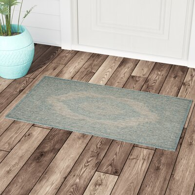 Myers Gray/Aqua Indoor/Outdoor Area Rug Rug Size: Rectangle 2 x 37