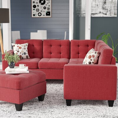 Pawnee Modular Sectional with Ottoman Upholstery: Carmine