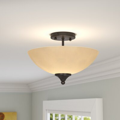 Crofoot 2-Light Semi Flush Mount Finish: Bronze, Shade Color: Tea Stained