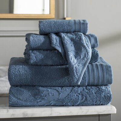 Jarred 6 Piece Cotton Towel Set Color: Denim