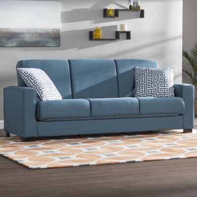 Swiger Convertible Sleeper Sofa Upholstery: Blue Linen / Greek Key