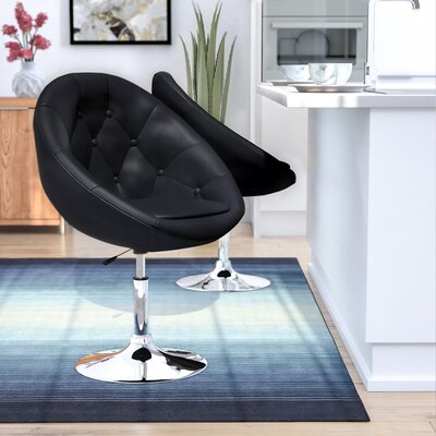 Loyola Adjustable Height Swivel Bar Stool Upholstery: Black