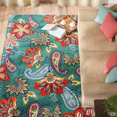 Hammond Green/Orange Area Rug Rug Size: Set 5 x 8