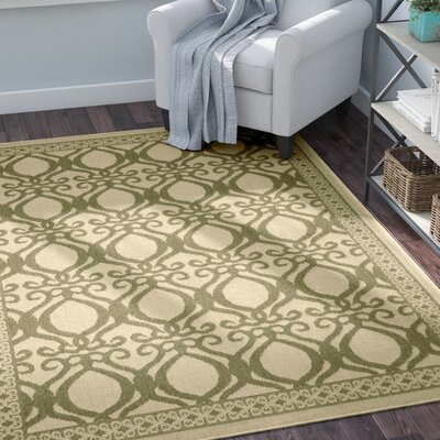 Short Natural/Olive Power Loomed Outdoor Rug Rug Size: Rectangle 53 x 77