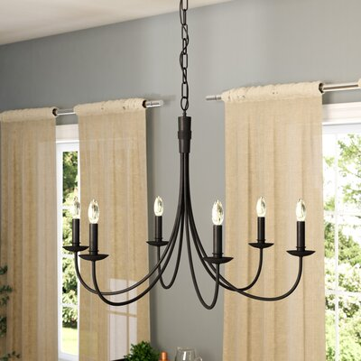 Souders 6-Light Candle-Style Chandelier Finish: Black