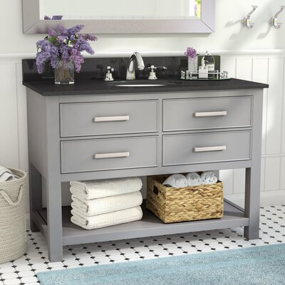 Martina 43 Single Bathroom Vanity Set Base Finish: Chilled Gray, Top Finish: Black Granite