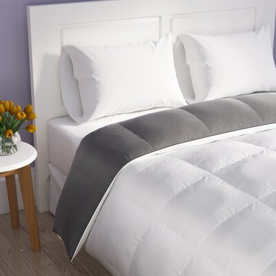 Reversible All Season Down Alternative Comforter Size: Queen, Color: White/Platinum