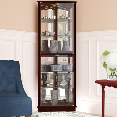 Randalstown Lighted Corner Curio Cabinet Color: Cherry