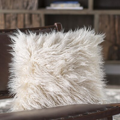 Faux Fur Throw Pillow Size: 16 H x 16 W x 6 D, Color: Cream