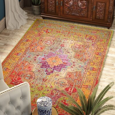 Newton Orange/Green Area Rug Rug Size: Rectangle 9 x 12