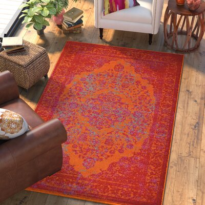 Boxdale Orange/Red Area Rug Rug Size: Rectangle 4 x 6