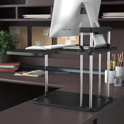 17 H x 25 W Standing Desk Conversion Unit Color: Black