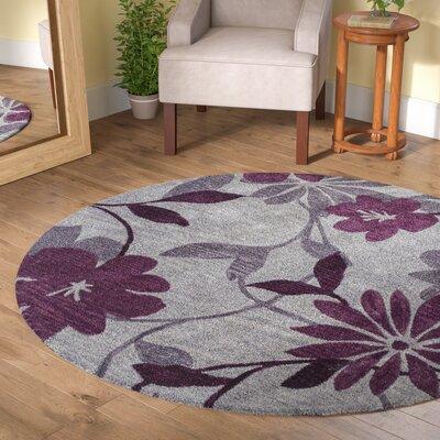 Bradshaw Gray/Plum Elegance Area Rug Rug Size: Round 56