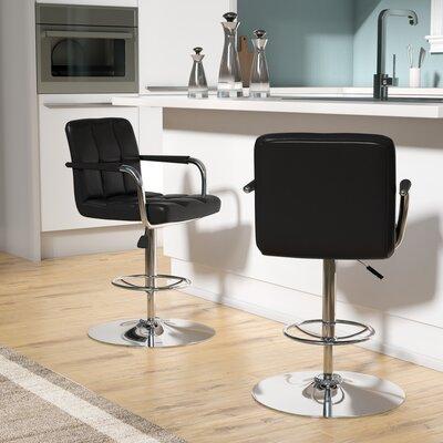 Faith Adjustable Height Swivel Bar Stool Upholstery: Black