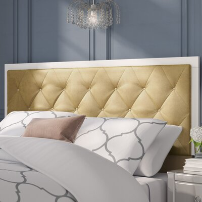 Harmen Button-Tufted Velvet Upholstered Panel Headboard Upholstery: Gold, Size: Queen