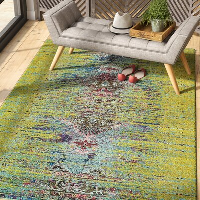 Glenn Machine woven Green Area Rug Rug Size: Rectangle 4 x 6