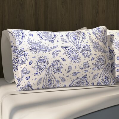 Saxatile Pillow Case Size: 20 H x 40 W x 1 D, Color: Blue/ Ivory