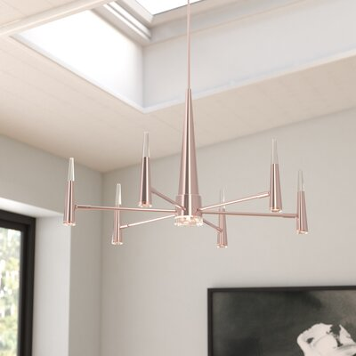 Everdeen 7-Light LED Sputnik handelier Finish: Satin Rose Gold