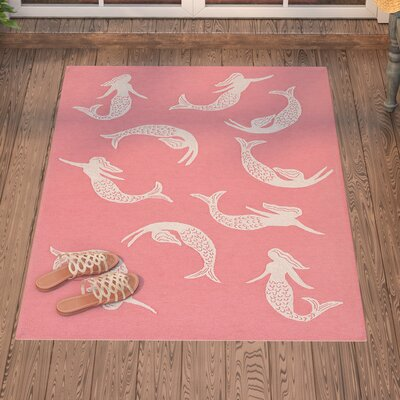 Northfield Mermaids Handmade Water Resistant Orange Indoor/Outdoor Area Rug Rug Size: 36 x 56