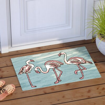 Boller Flamingo Handmade Blue Indoor/Outdoor Area Rug Rug Size: Rectangle 18 x 26