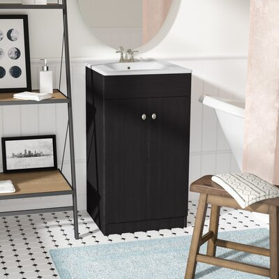 Chance 19 Single Bathroom Vanity Set Base Finish: Black Embossment