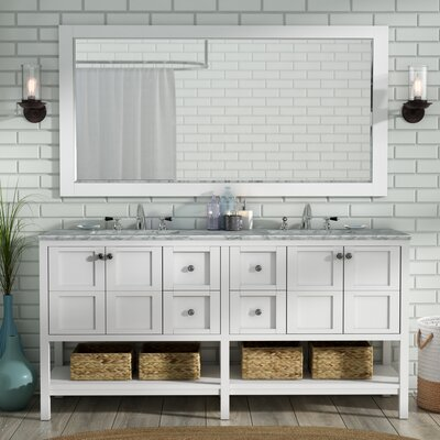 Caldwell 72 Double Bathroom Vanity Set with Mirror Base Finish: White