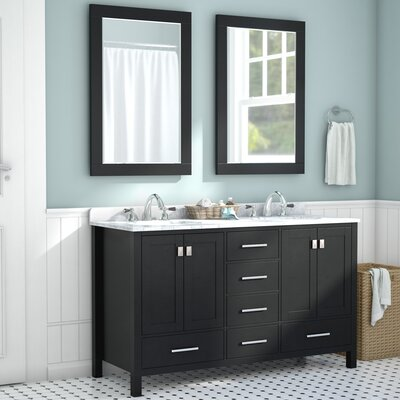 Newtown 60 Double Vanity Set with Mirror Base Finish: Espresso