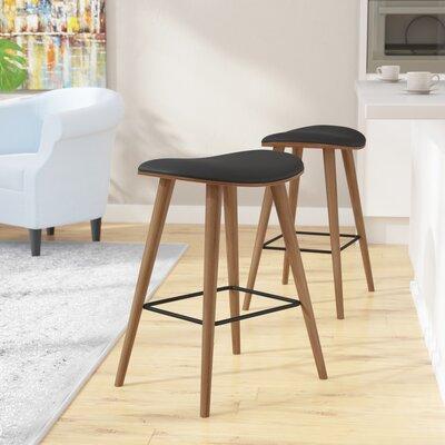 Kylie Saddle Fixed Base Counter 26 Bar Stool Upholstery: Black