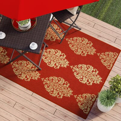 Short Red/Natural Outdoor Rug Rug Size: Rectangle 53 x 77