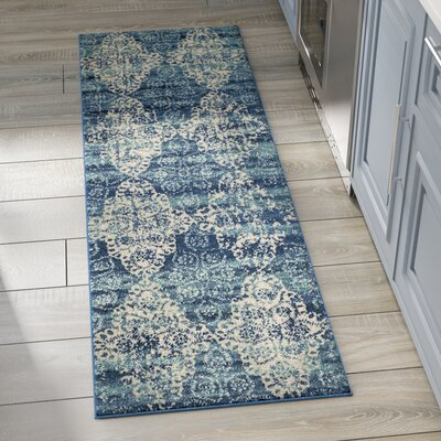 Caressa Royal/Ivory Area Rug Rug Size: Runner 22 x 7