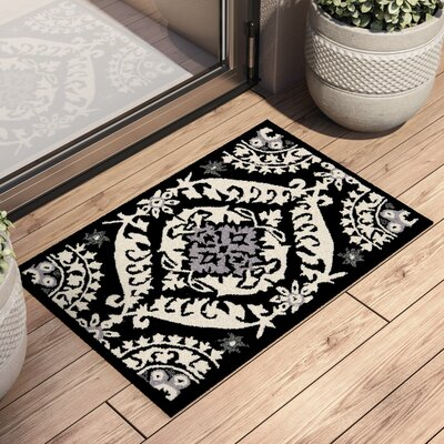 Nesbitt Black/Ivory Rug Rug Size: Rectangle 18 x 26