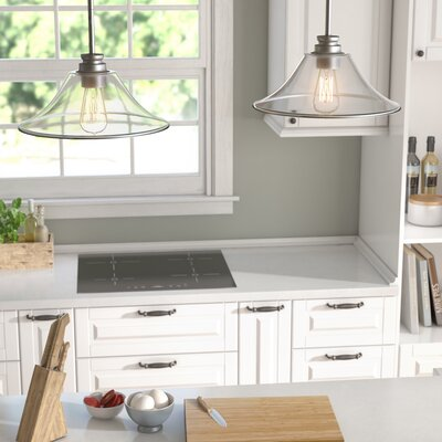 Clayton 2-Light Glass Kitchen Island Pendant Finish: Brushed Nickel