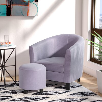 Korina Barrel Chair and Ottoman Upholstery: Silver