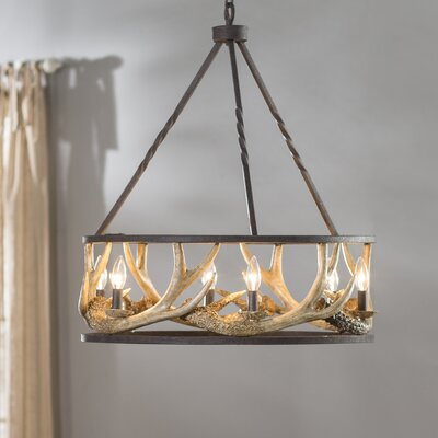 Los Angeles Antler 6-Light Candle-Style Chandelier