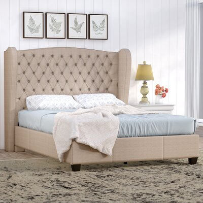 Montmorency Upholstered Panel Bed Size: Queen, Color: Light Beige