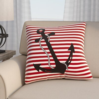 Daina Anchor Indoor/Outdoor Pillow Cover Size: 18 H x 18 W x 3.5 D, Color: Red