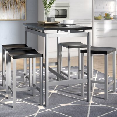 Swigart 5 Piece Pub Table Set Color: Black