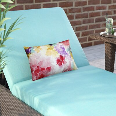 Ernestine Flower Cotton Lumbar Pillow Color: Pink