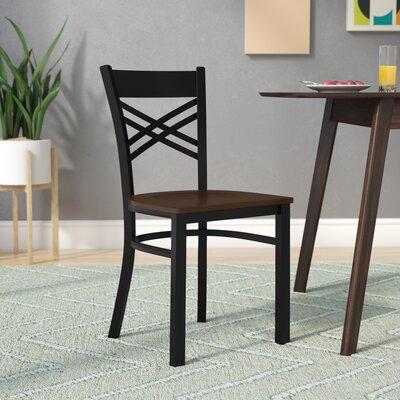 Socorro Coated X Back Metal Restaurant Side Chair Finish: Mahogany/Black