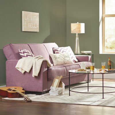 Swiger Convertible Sleeper Sofa Upholstery: Purple Linen / Chevron