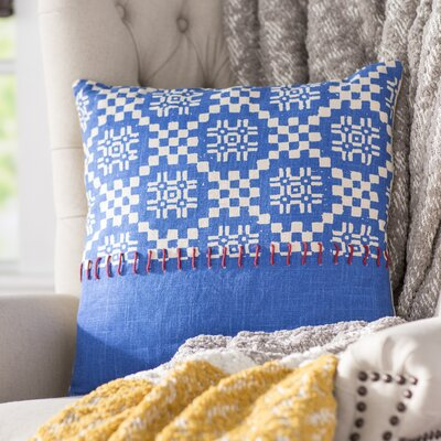 Mayson 100% Cotton Throw Pillow Size: 18 H x 18 W x 4.5 D, Color: right Blue, Fill Material: Down Fill